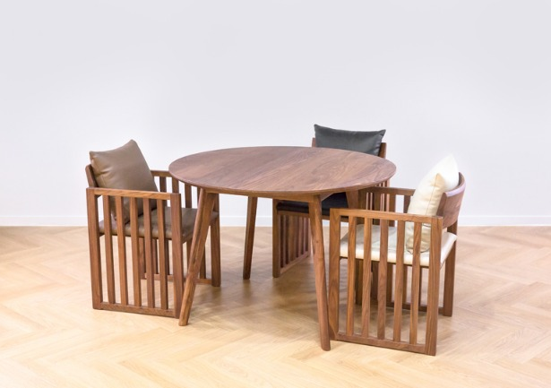 real walnut moon table B set