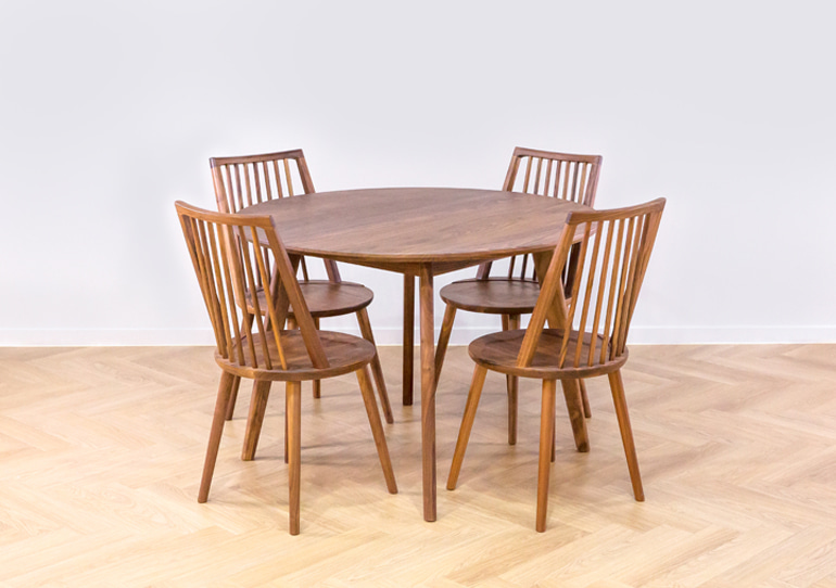 real walnut moon table A set